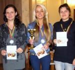 greitųjų šachmatų 2011 m. Lietuvos čempionatas, Dominyka Batkovskytė, Viktorija Beinoraitė, Salomėja Zaksaitė