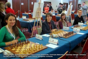 Europos komandų šachmatų čempionatas 2013 metai: Lietuvos moterų rinktine: Dominyka Batkovskytė; Salomėja Zaksaitė, Deimantė Daulytė, Viktorija Čmilytė. Rinktinės narės Gie