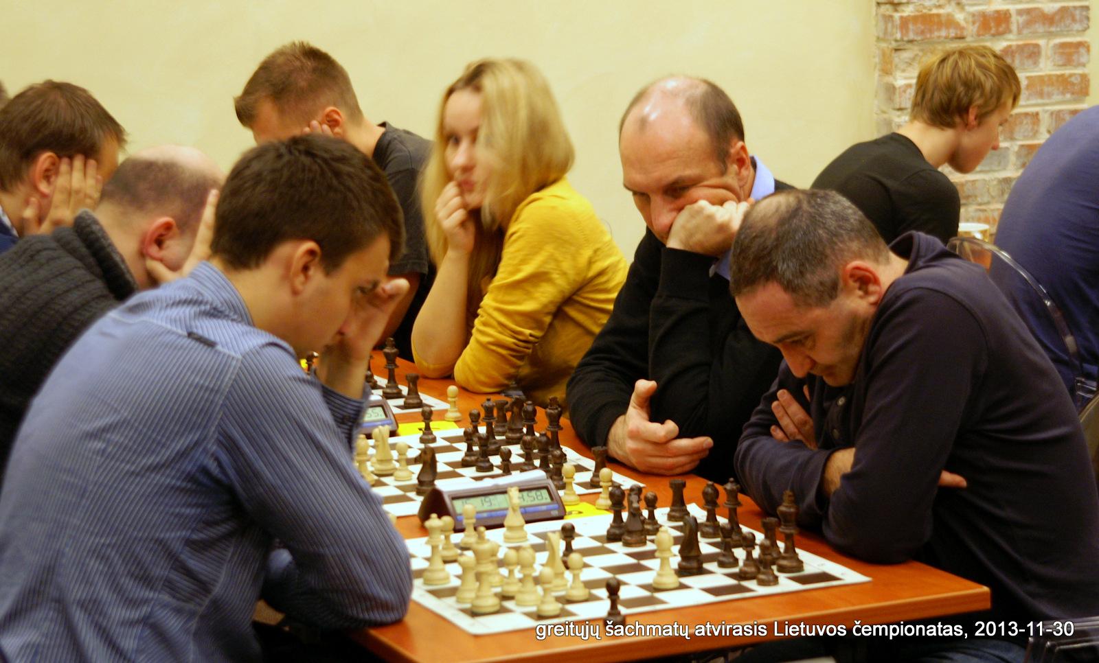 greitųjų šachmatų atvirasis Lietuvos čempionatas, 2013-11-30; Tomas Laurušas; Irina Sudakova; Darius Zagorskis; Timur Beliastnyj